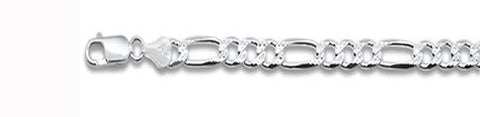 "250-10MM Pave Figaro Chain .925  Solid Sterling Silver Available in 20""- 28"" inches"