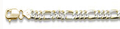 "250-10MM Yellow Gold Plated Pave Figaro Chain .925  Solid Sterling Silver Available in 8""- 32"" inches"