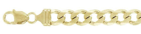 "250-9.5MM Yellow Gold Plated Flat Curb Chain Sterling Silver Made in Italy Available in 8""- 28"" inches"