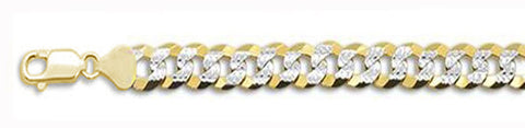 "250-10.8MM Yellow Gold Plated Flat Pave Curb Chain .925  Solid Sterling Silver Available in 8""- 32"" inches"