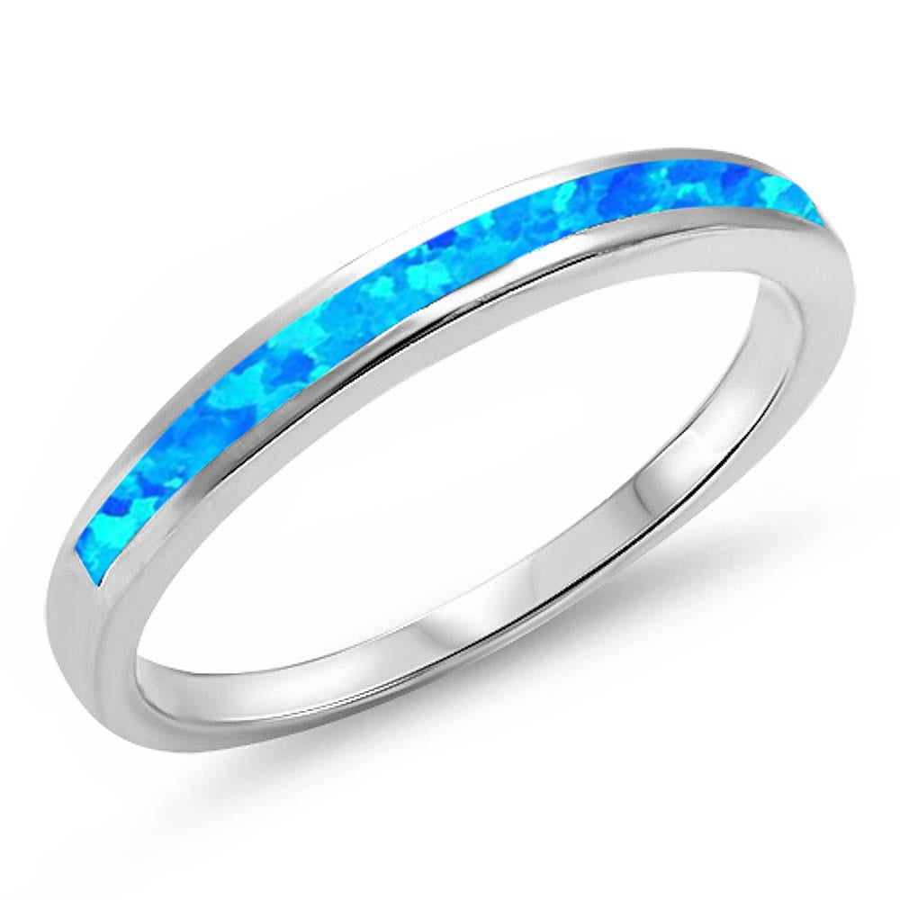 <span>CLOSEOUT!</span> Blue Opal Band .925 Sterling Silver Ring Sizes 4-11