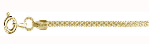 2.5MM Yellow Gold Plated Popcorn Chain Made in Italy .925 Sterling Silver Sizes 16-20""