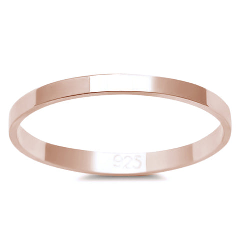 2MM ROSE GOLD PLATED SOLID FLAT PLAIN .925 STERLING SILVER WEDDING BAND SIZES 3-12