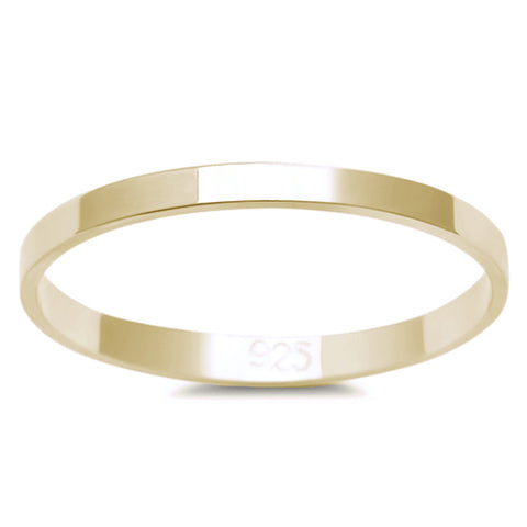 2MM YELLOW GOLD PLATED SOLID FLAT PLAIN .925 STERLING SILVER WEDDING BAND SIZES 3-12