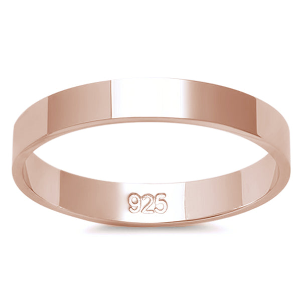 3MM ROSE GOLD PLATED SOLID FLAT PLAIN .925 STERLING SILVER WEDDING BAND SIZES 2-12