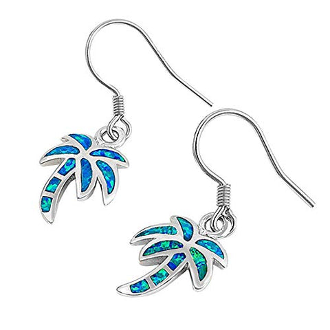 Blue Opal Palm Tree .925 Sterling Silver Earrings