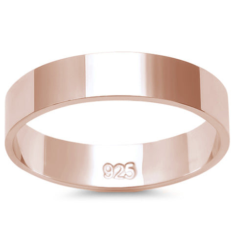 4MM SOLID ROSE GOLD PLATED  FLAT PLAIN .925 STERLING SILVER WEDDING BAND SIZES 2-12