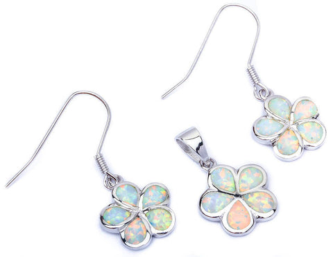 White Fire Opal Plumeria .925 Sterling Silver Pendant & Earrings Set