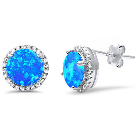 Halo Blue Opal & Cz stud .925 Sterling Silver Earrings
