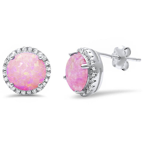 Halo Pink Opal & Cz stud .925 Sterling Silver Earrings