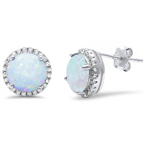 Halo White Opal & Cz stud .925 Sterling Silver Earrings