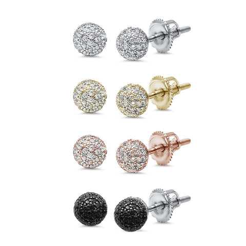 6MM Round Fireball Sphere .925 Sterling Silver Stud Earrings Colors Available!