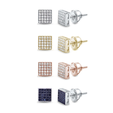 Square Micro Pave .925 Sterling Silver Earrings! Silver, Rose, Yellow & Black Plated