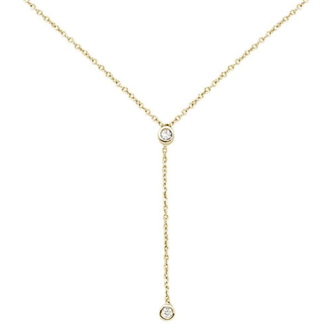 ".06cts 14kt Yellow Gold Round Diamond Drop Lariat Pendant Necklace 18"" Long"