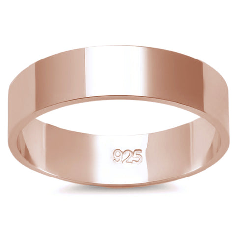 5MM SOLID ROSE GOLD PLATED FLAT PLAIN .925 STERLING SILVER WEDDING BAND SIZES 2-13