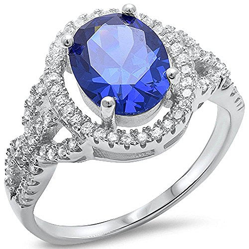 Oval Tanzanite & Cz .925 Sterling Silver Ring Sizes 5-10