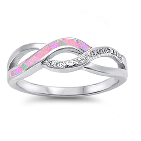 Pink Opal & Cz Infinity Style .925 Sterling Silver Ring Sizes 4-12