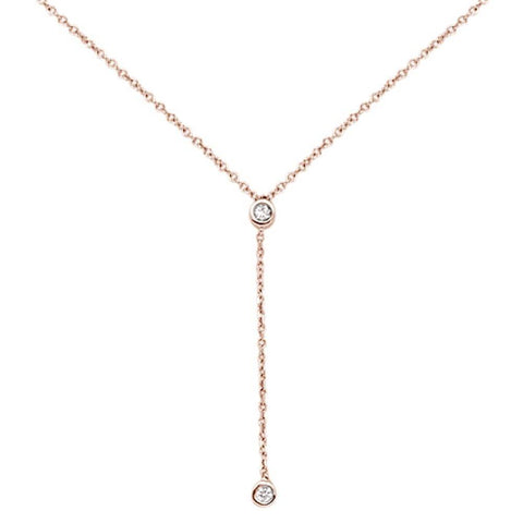 ".06cts 14kt Rose Gold Round Diamond Drop Lariat Pendant Necklace 18"" Long"