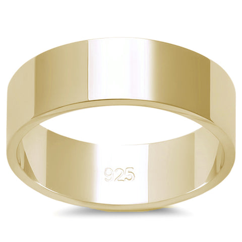 6MM SOLID YELLOW GOLD PLATED  FLAT PLAIN .925 STERLING SILVER WEDDING BAND SIZES 4-12