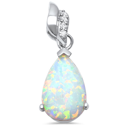 Wholesale 925 sterling silver lab opal pendants sonara jewelry pear shape lab created white opal with cz 925 sterling silver pendant aloadofball Image collections