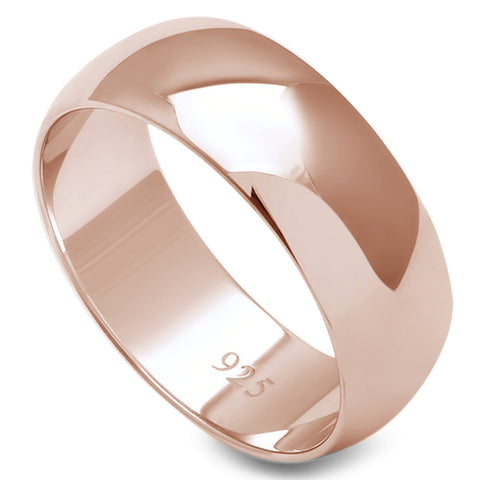 7MM SOLID ROSE GOLD PLATED ROUND PLAIN .925 STERLING SILVER WEDDING BAND SIZES 5-13