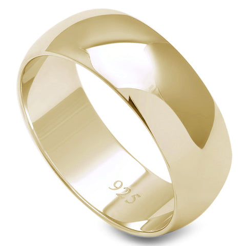 7MM SOLID YELLOW GOLD PLATED ROUND PLAIN .925 STERLING SILVER WEDDING BAND SIZES 5-13