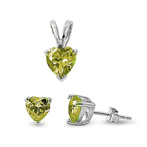 Peridot Heart Pendant & Earrings Set .925 Sterling Silver