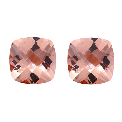 3.80ct 8mm Natural Cushion Cut Morganite Loose Gemstones Pair Great 4 Earrings!
