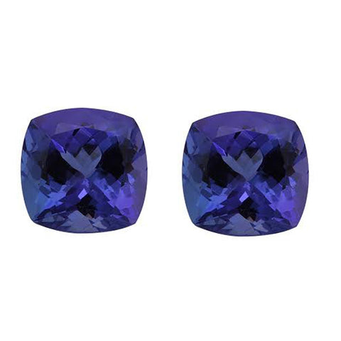 5.15CT 8mm Natural Cushion Cut Tanzanite Loose Gemstones Pair