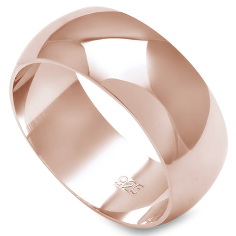 8MM SOLID ROSE GOLD PLATED ROUND PLAIN .925 STERLING SILVER WEDDING BAND SIZES 5-12
