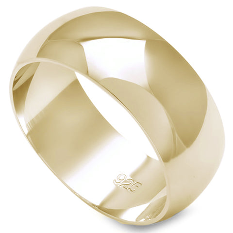 8MM SOLID YELLOW GOLD PLATED ROUND PLAIN .925 STERLING SILVER WEDDING BAND SIZES 5-12