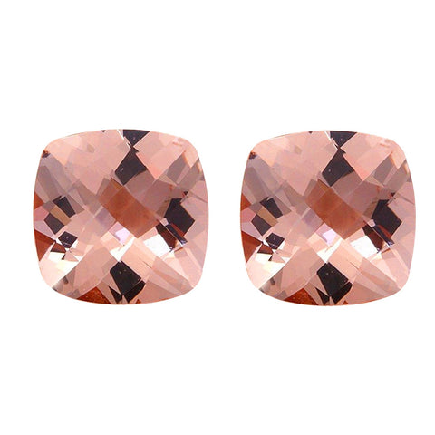5.20ct 9mm Natural Cushion Cut Morganite Loose Gemstones Pair Great for Earrings