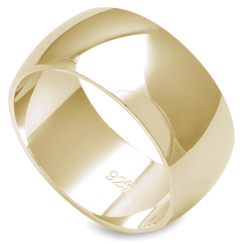 9MM SOLID YELLOW GOLD PLATED ROUND PLAIN .925 STERLING SILVER WEDDING BAND SIZES 5-12