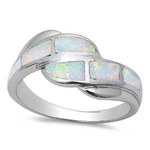 <span>CLOSEOUT!</span>White Opal Fashion .925 Sterling Silver Ring Sizes 5-10