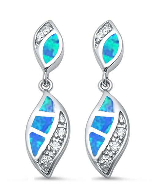 Blue Opal & Cz .925 Sterling Silver Earrings