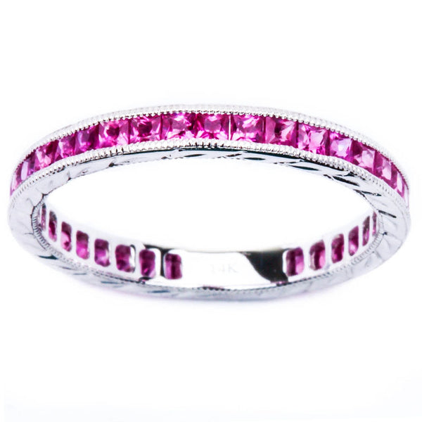 14K White Gold Eternity Pink Sapphire Diamond Wedding Anniversary Stackable Band
