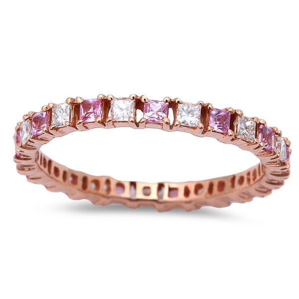 .79ct Pink Sapphire & Diamond Eternity Wedding Band 14kt Rose Gold  Size 6.5