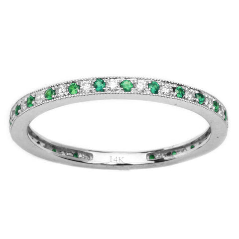 .22cts 14k White gold Antique Style Emerald & Diamond Wedding Band Stackable