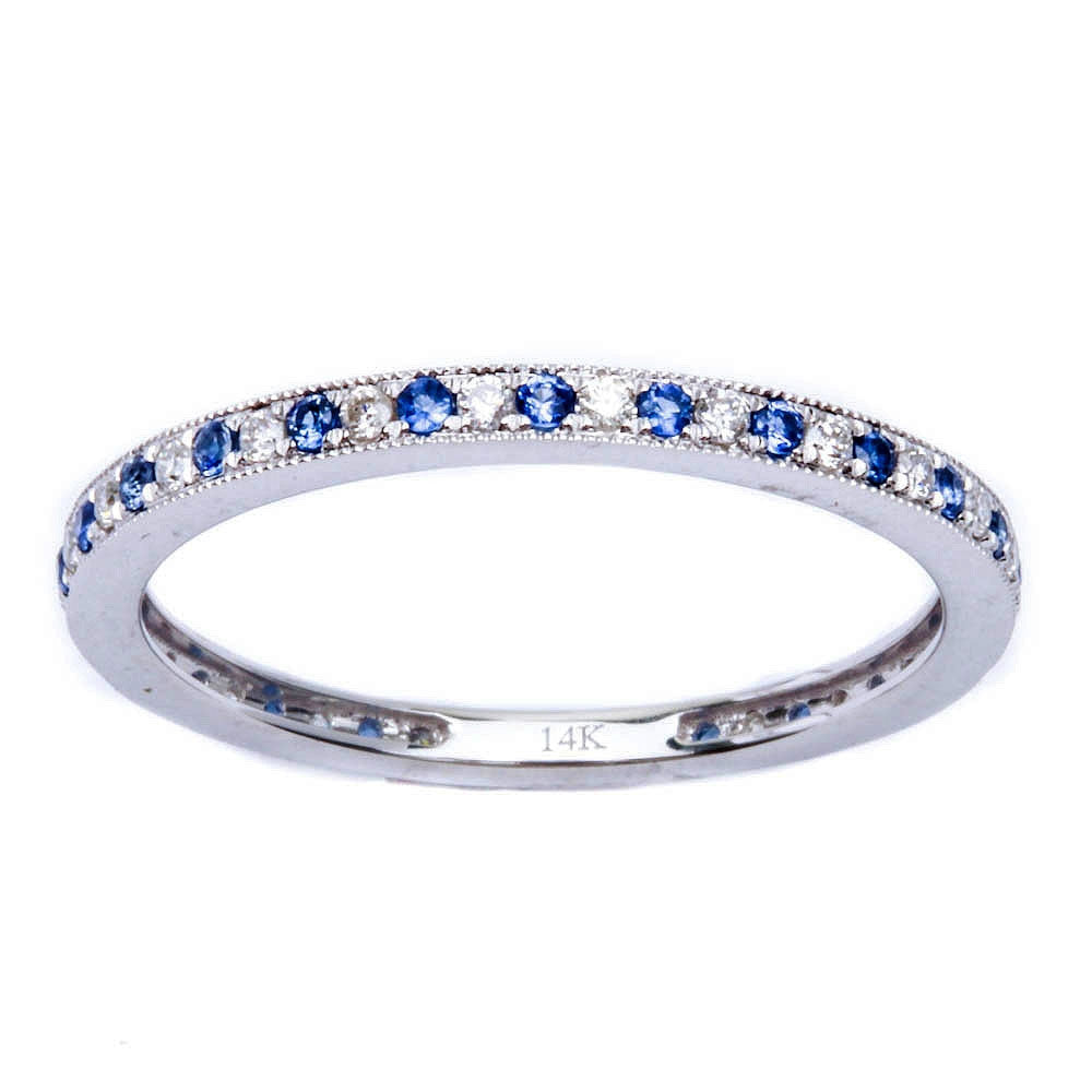 .25cts 14k White gold Antique Style Blue Sapphire & Diamond Wedding Band Stackable