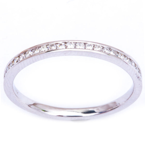 .22ct Channel Set 14kt White Gold E-SI1 Round Diamond Wedding Anniversary Band