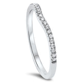 .13cts F-VS2 Round Diamond Curved Accent Wedding Anniversary Band Size 6.5