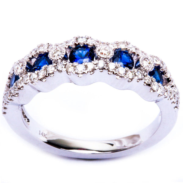 .94ct 14kt White Gold Blue Sapphire & Diamond Fine Gemstone Band Ring
