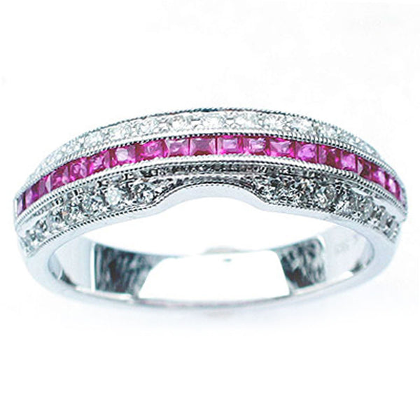 .60ct Pink Sapphire & Diamond Wedding Band Ring