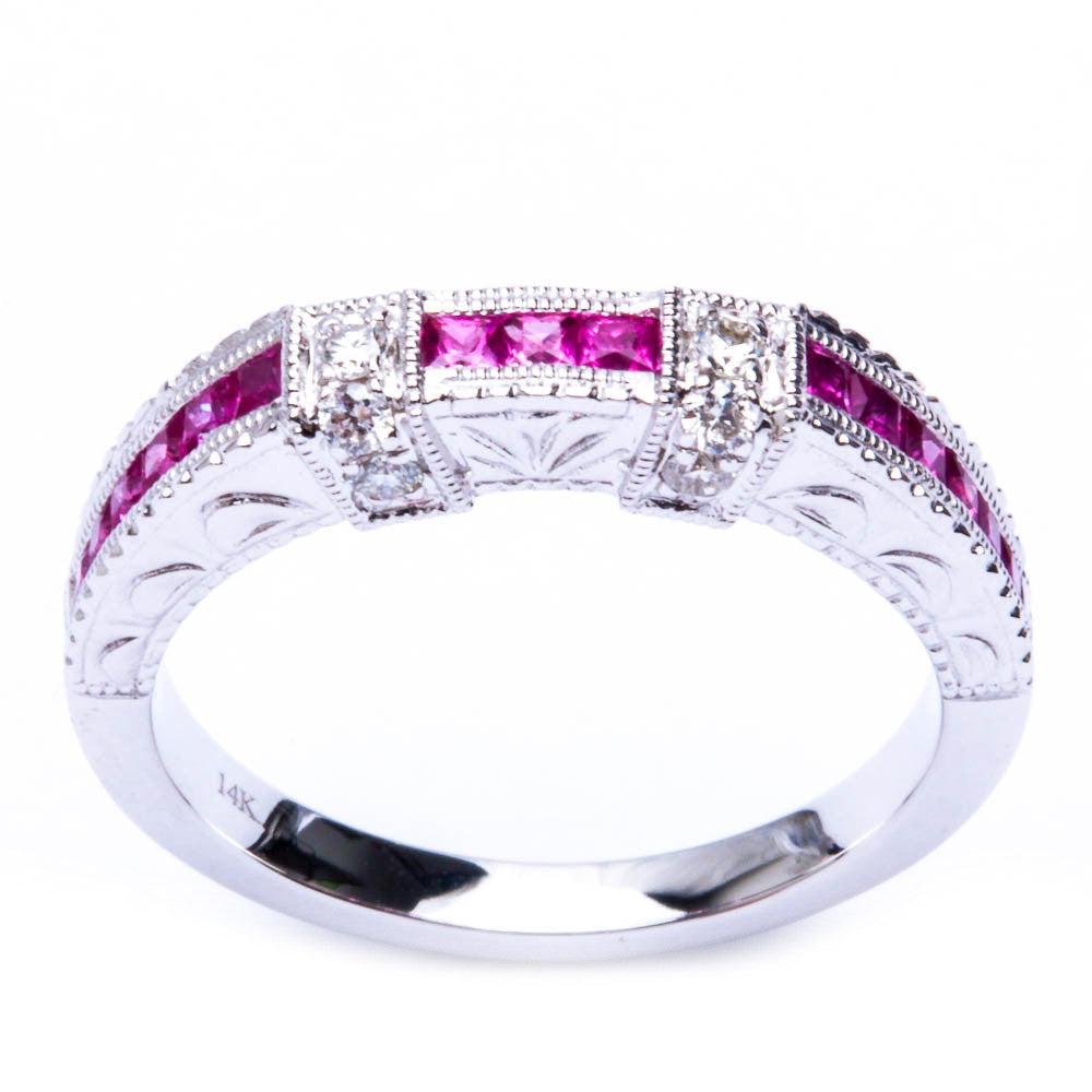 <span>GEMSTONE CLOSEOUT </span>!  .61ct 14kt White gold Pink Sapphire Gemstone & Diamond Anniversary Wedding Band