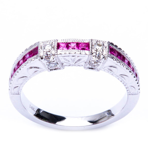 .61ct 14kt White gold Pink Sapphire Gemstone & Diamond Anniversary Wedding Band