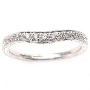 .18CT D VVS1 18k White Gold Antique Style Diamond Wedding Band