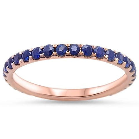 .81ct Genuine Blue Sapphire 14kt Rose Gold Wedding Band