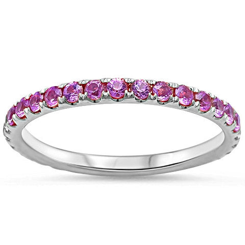 .77ct Eternity Genuine Pink Sapphire 14kt White Gold Wedding Band