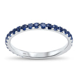 0.83cts 14k White gold Eternity Round Blue Sapphire Diamond Ring Size 6.5