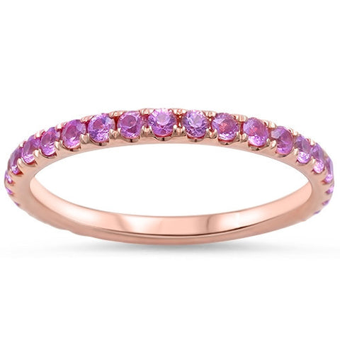.77ct Eternity Genuine Pink Sapphire 14kt Rose Gold Wedding Band
